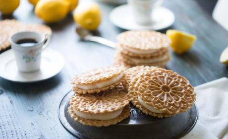 Lemon Ginger Pizzelle Sandwich Cookies