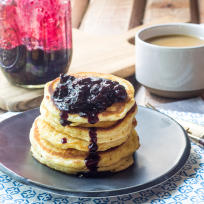 Hoe Cakes with Blueberry Jalapeño Sauce Recipe