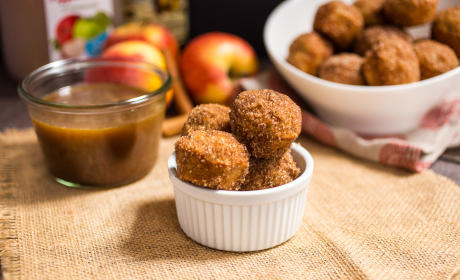 Apple Cider Donut Holes with Hot Buttered Rum Dipping Sauce