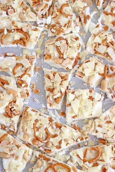 Caramel Pretzel Salted Peanut Potato Chip Bark Image