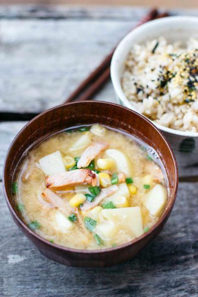 Potato Corn Miso Soup with Bacon Pic