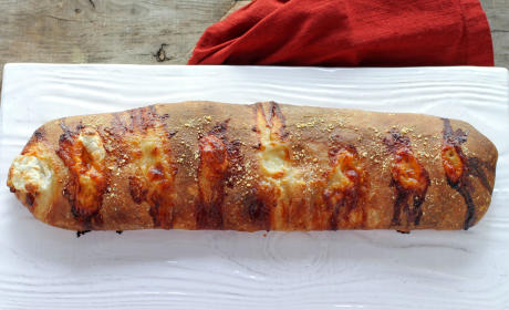 Roasted Red Pepper Prosciutto Stromboli