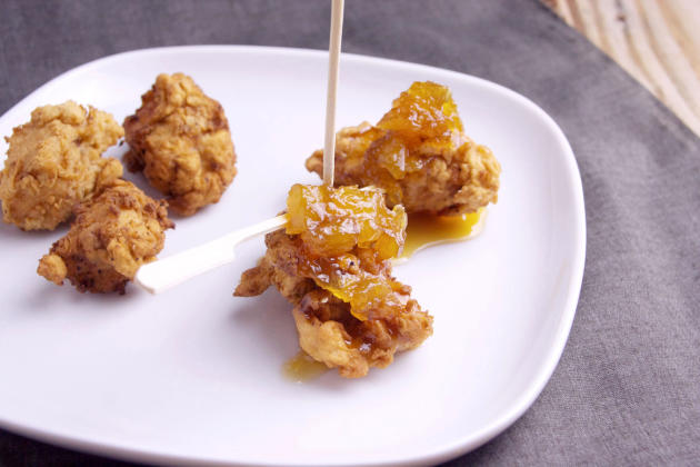 Popcorn Chicken with Pineapple Bourbon Sauce - Food Fanatic
