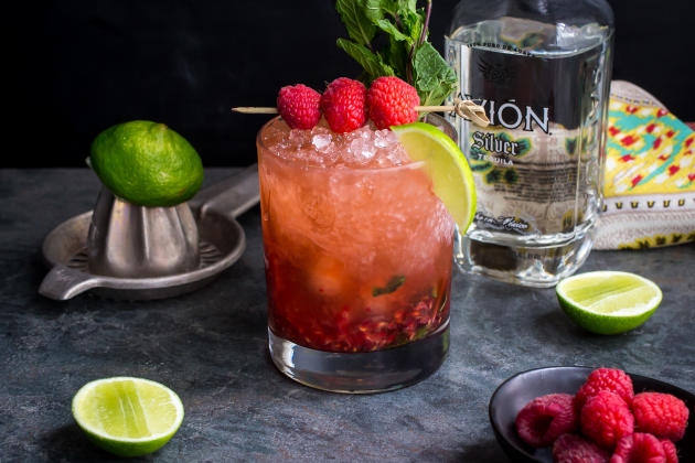 Raspberry Mint Tequila Smash Photo