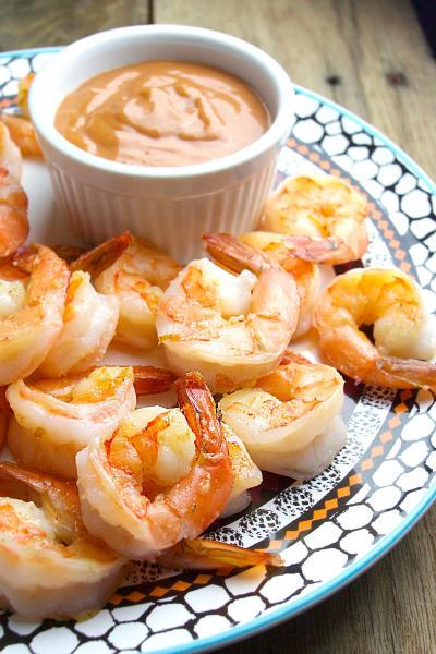 Sautéed Garlic Shrimp with Homemade Cocktail Sauce Image