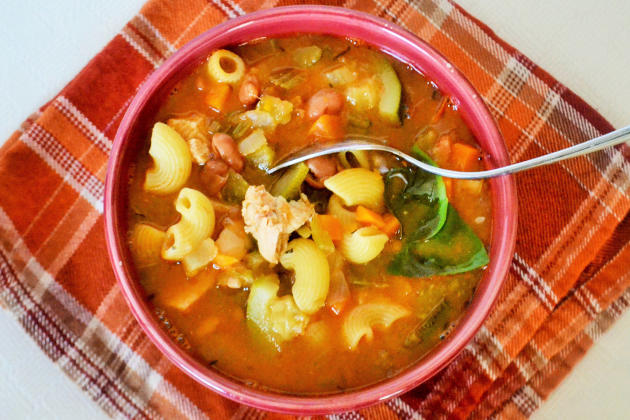 This chicken minestrone soup is hearty and filled with chicken ...