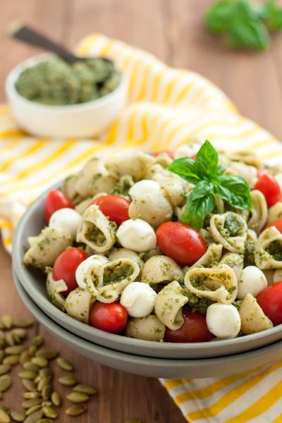 Gluten Free Pasta Salad with Pumpkin Seed Pesto Image