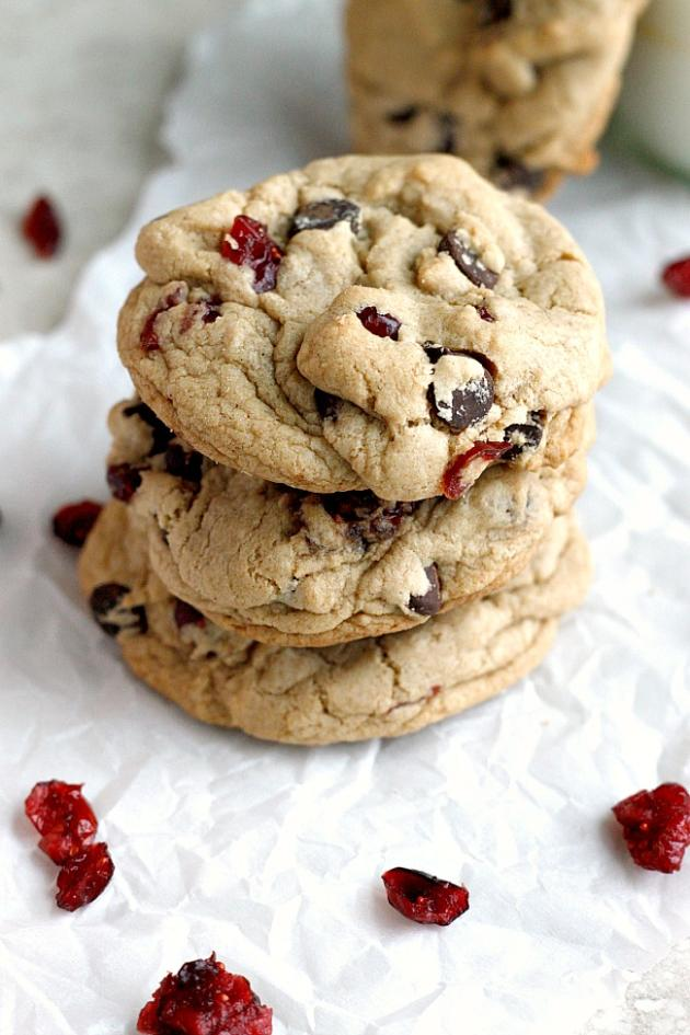 Dark Chocolate Cranberry Cookies - Food Fanatic