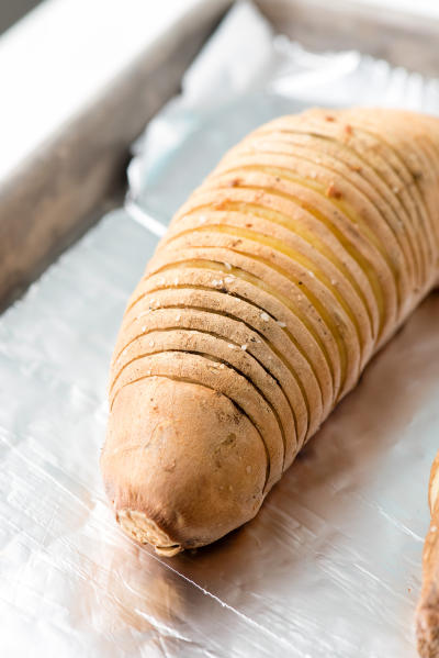 Hasselback Sweet Potatoes with Creamed Chipotle Turkey Image