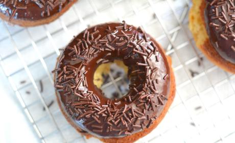 Lemon Donuts with Chocolate Glaze