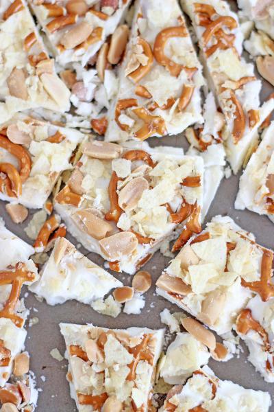 Caramel Pretzel Salted Peanut Potato Chip Bark Pic