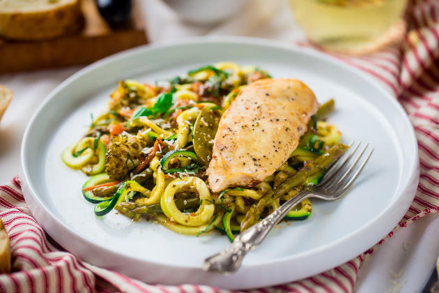 Slow Cooker Italian Chicken with Zucchini Noodles Photo