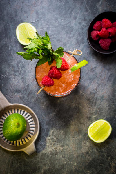 Raspberry Mint Tequila Smash Picture