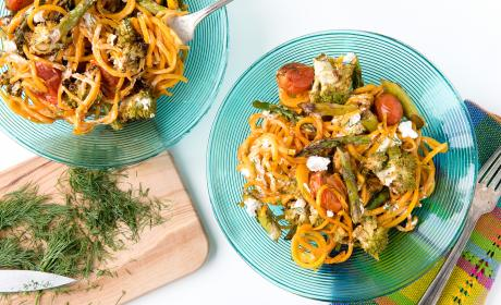 Roasted Spring Vegetables with Butternut Squash Noodles