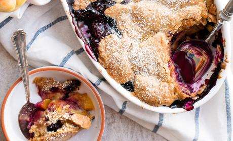 Oatmeal Cookie Blueberry Peach Cobbler