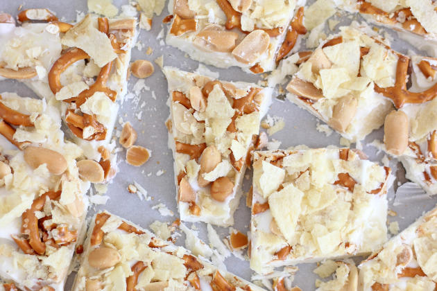 Caramel Pretzel Salted Peanut Potato Chip Bark Photo