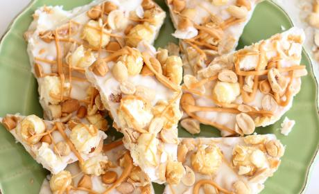 Salted Peanut Butterscotch Caramel Corn Bark