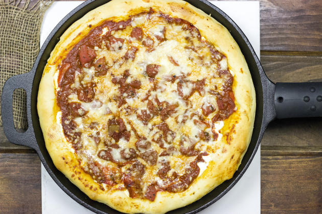 Cast Iron Deep Dish Pizza Photo
