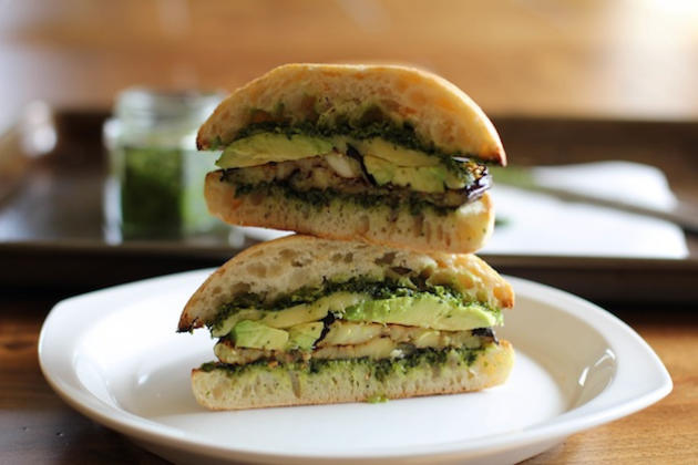 Roasted Eggplant Kale Pesto Sandwich Photo