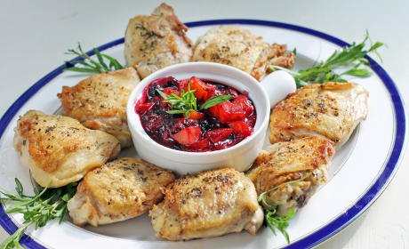 Pan Roasted Chicken with Peach Blueberry Sauce