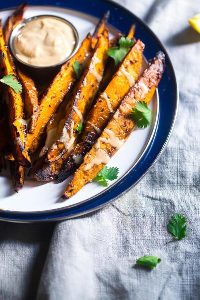 Maple Tahini Grilled Sweet Potatoes Image