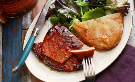 Ham Steak Glazed with Peach, Maple & Bourbon
