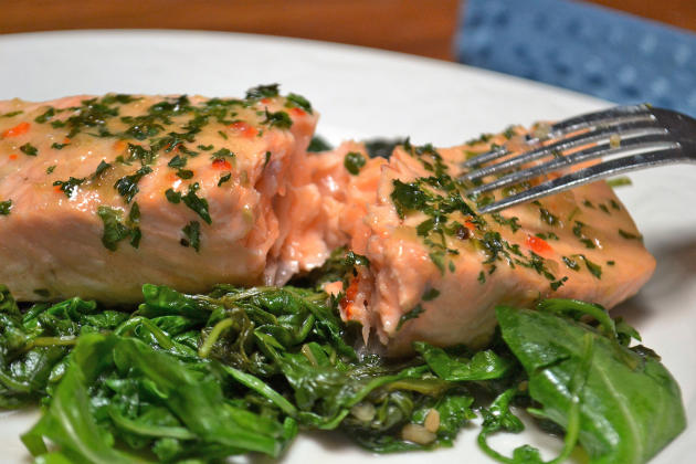 Roasted Salmon with Wilted Greens Photo