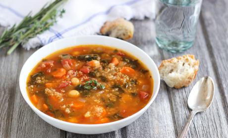 Quinoa Chickpea Spinach Soup Recipe