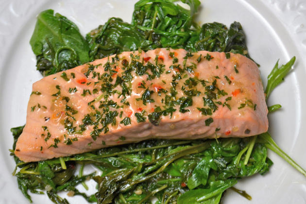 Roasted Salmon with Wilted Greens Pic