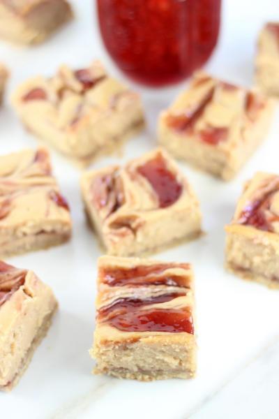 Peanut Butter & Jelly Swirl Cheesecake Bars Pic