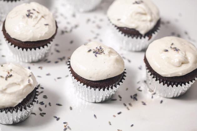 Chocolate Cupcakes with Lavender Goat Cheese Frosting Photo