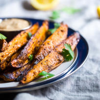 Maple Tahini Grilled Sweet Potatoes Recipe