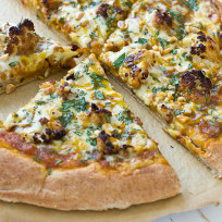 Indian pizza with roasted cauliflower