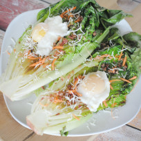 Grilled Romaine with Poached Eggs Recipe