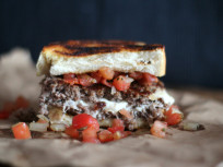 Bruschetta Burger: Stuffed with Mozzarella... and Deliciousness!