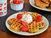 Strawberry Waffles Make Us Happy