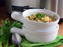 Lemon Chicken Orzo Soup for the Slow Cooker
