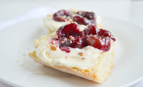 Roasted Cherry Toasts with Honey Nut Cream Cheese